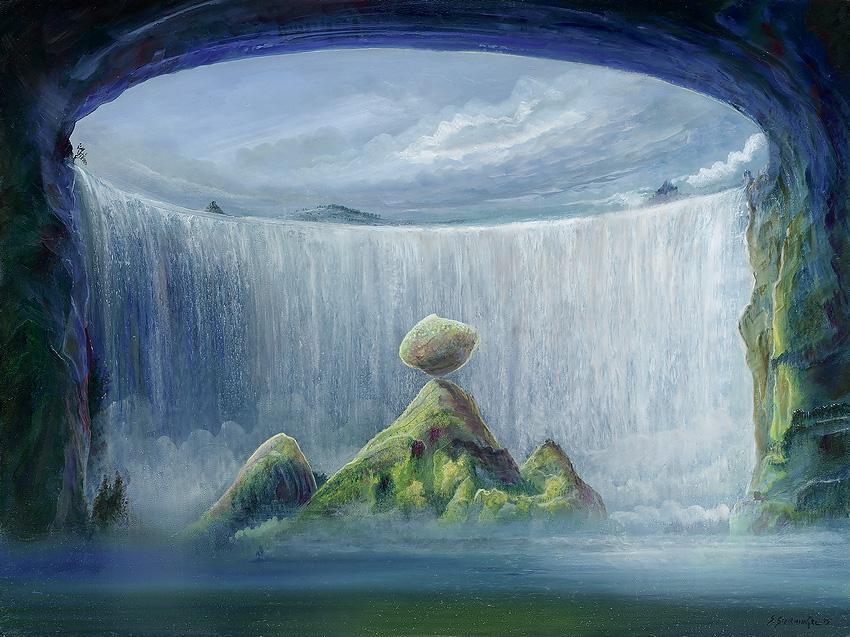 Landschaftsmalerei surrealismus  Kunstwerk 'In Balance' von - Silvian Sternhagel - präsentiert bei ...