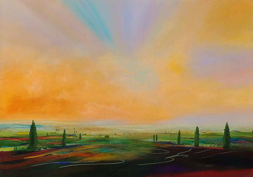Landschaftsmalerei surrealismus  Kunstwerk 'Landstrich' von - Silvian Sternhagel - präsentiert bei ...