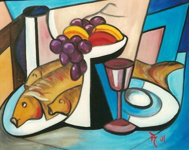 Stillleben Modern kunstwerk stillleben mit drei fischen ahrens