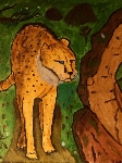 cheetah with hollow tree
